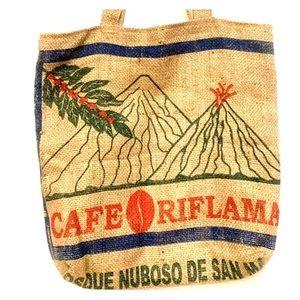 Handbags - Coffee Bean Burlap Handbag Purse Tote Bag